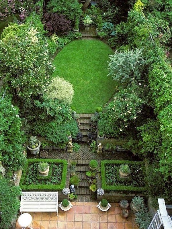 Kleine tuin bovenaanzicht